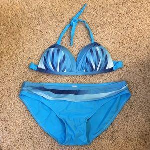 Blue striped Bikini